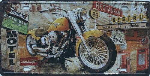 Retro metalen bord nummerplaat - Moto on Route 66