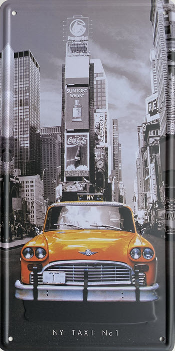 Retro metalen bord nummerplaat - NY taxi