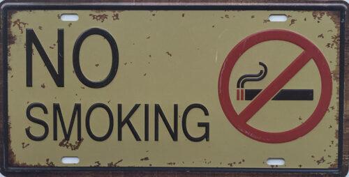 Retro metalen bord nummerplaat - No smoking