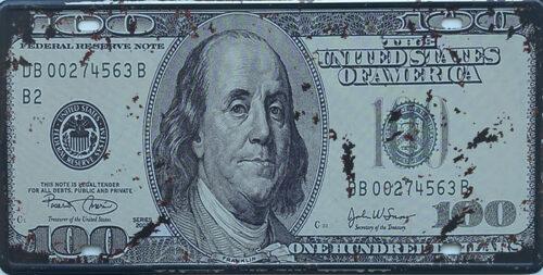 Retro metalen bord nummerplaat - One hundred dollars