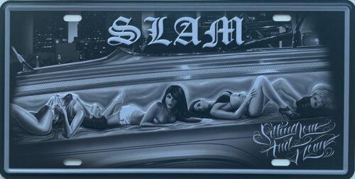 Retro metalen bord nummerplaat - Slam