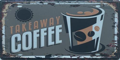 Retro metalen bord nummerplaat - Takeaway coffee