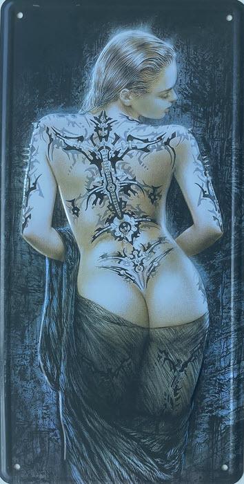 Retro metalen bord nummerplaat - Tattoo girl