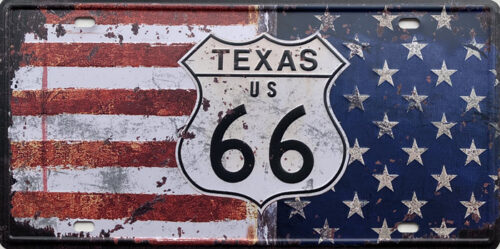 Retro metalen bord nummerplaat - Texas US 66