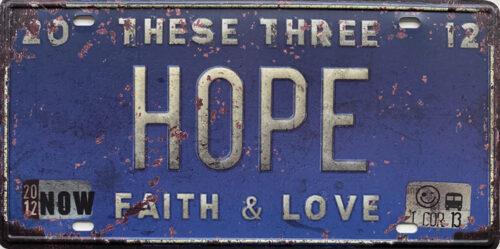 Retro metalen bord nummerplaat - These three hope faith & love