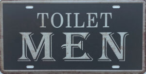 Retro metalen bord nummerplaat - Toilet men