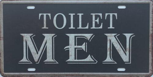 Retro metalen bord nummerplaat - Toilet men