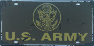 Retro metalen bord nummerplaat - US army