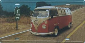 Retro metalen bord nummerplaat - Volkswagen busje 2