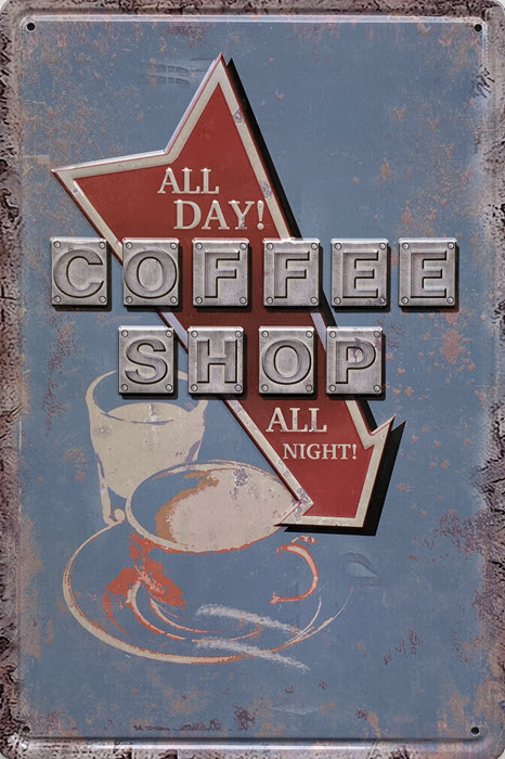 Retro metalen bord reliëf - All day coffee shop
