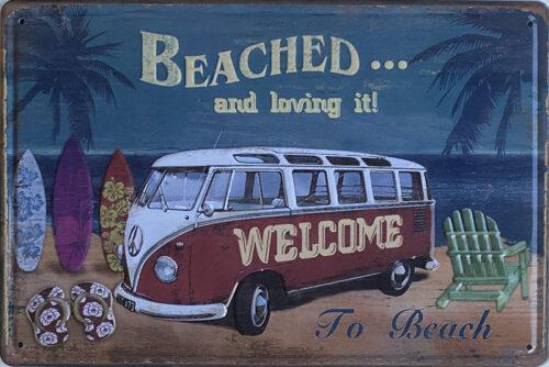 Retro metalen bord reliëf - Beached and loving it