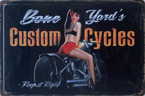 Retro metalen bord reliëf - Bone yard's custom cycles