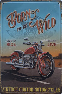 Retro metalen bord reliëf - Born to be wild