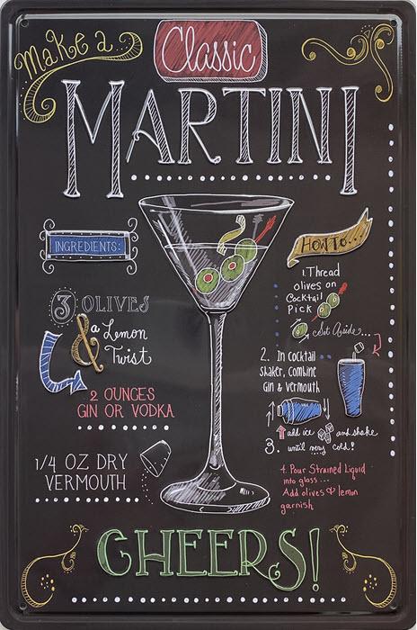 Retro metalen bord reliëf - Classic Martini