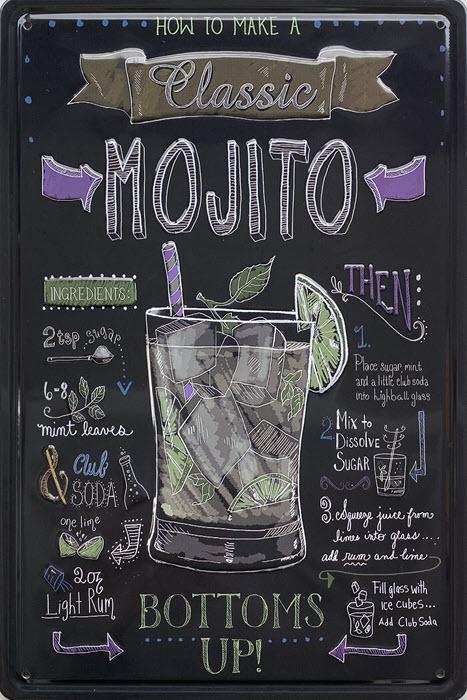 Retro metalen bord reliëf - Classic Mojito