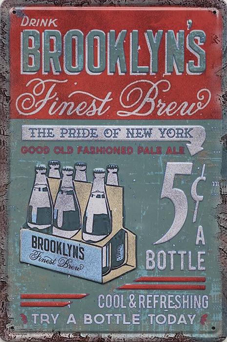 Retro metalen bord reliëf - Drink Brooklyns finest brew