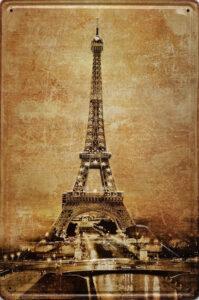 Retro metalen bord reliëf - Eiffeltoren