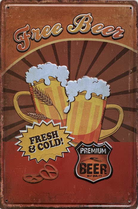 Retro metalen bord reliëf - Free beer