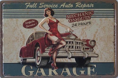 Retro metalen bord reliëf - Full service auto repair