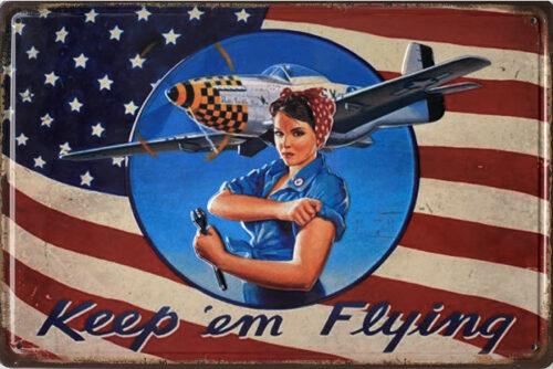 Retro metalen bord reliëf - Keep 'em flying