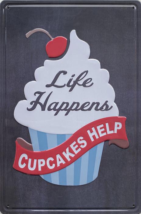 Retro metalen bord reliëf - Life happens cupcakes help
