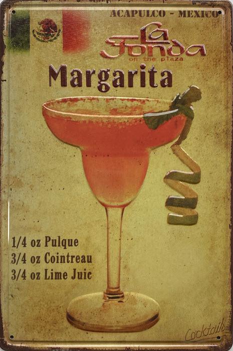 Retro metalen bord reliëf - Margarita