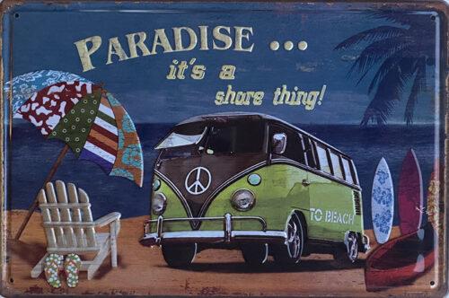 Retro metalen bord reliëf - Paradise it's a shore thing