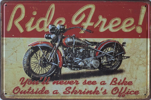 Retro metalen bord reliëf - Ride free