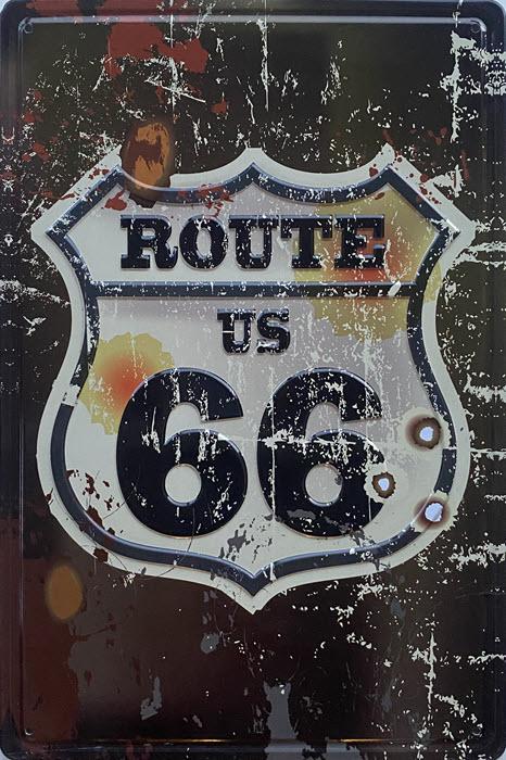 Retro metalen bord reliëf - Route US 66