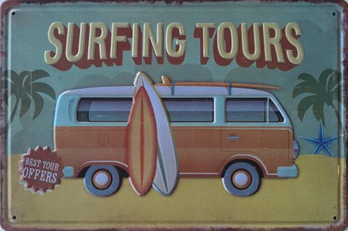 Retro metalen bord reliëf - Surfing tours