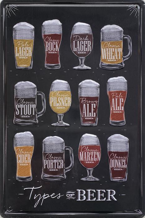 Retro metalen bord reliëf - Types of beer