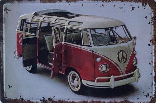 Retro metalen bord reliëf - Volkswagen busje