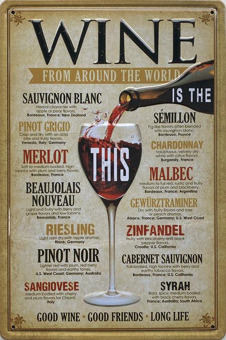 Retro metalen bord reliëf - Wine from around the world