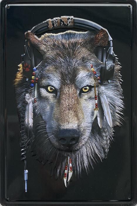 Retro metalen bord reliëf - Wolf