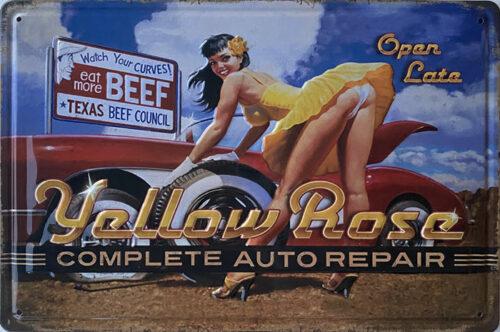 Retro metalen bord reliëf - Yellow rose