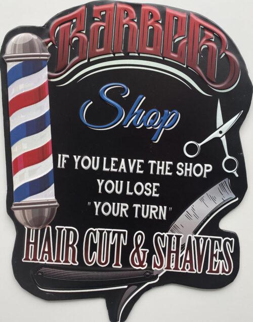 Retro metalen bord speciale vormen - Barber shop