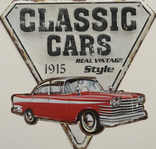 Retro metalen bord speciale vormen - Classic cars