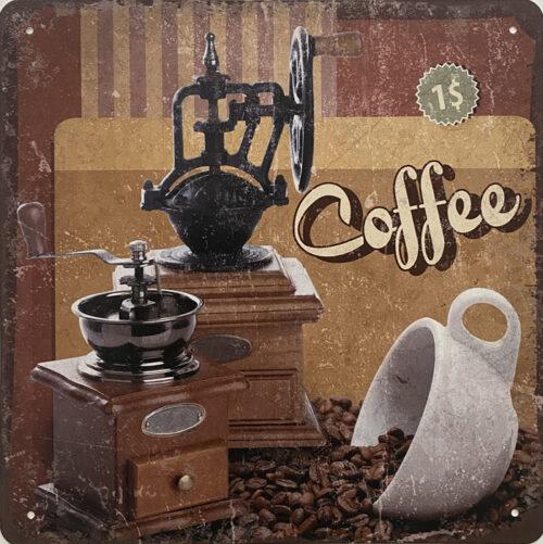 Retro metalen bord speciale vormen - Coffee 2