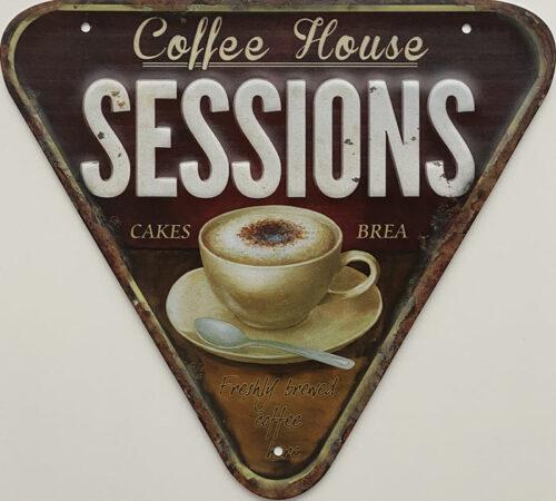 Retro metalen bord speciale vormen - Coffee house sessions