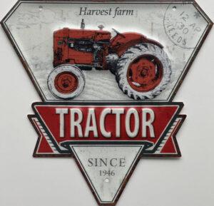 Retro metalen bord speciale vormen - Harvest farm tractor