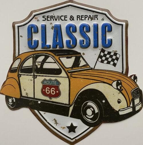 Retro metalen bord speciale vormen - Service & repair classic