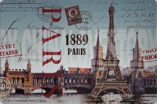 Retro metalen bord vlak - 1889 Paris