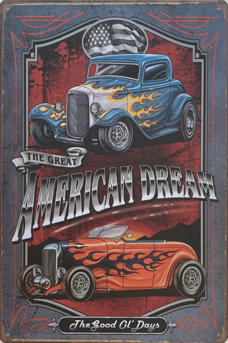 Retro metalen bord vlak - American dream