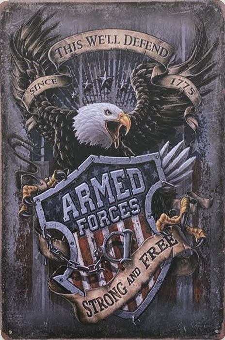 Retro metalen bord vlak - Armed forces strong and free