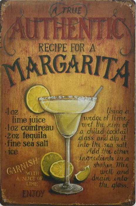 Retro metalen bord vlak - Authentic recipe for a margarita