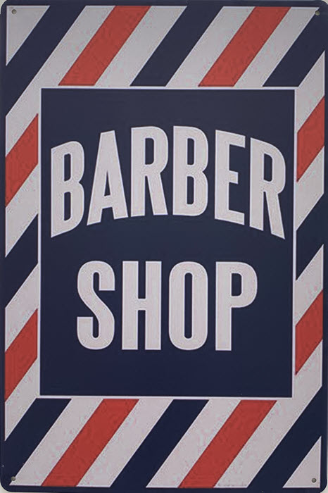 Retro metalen bord vlak - Barber shop