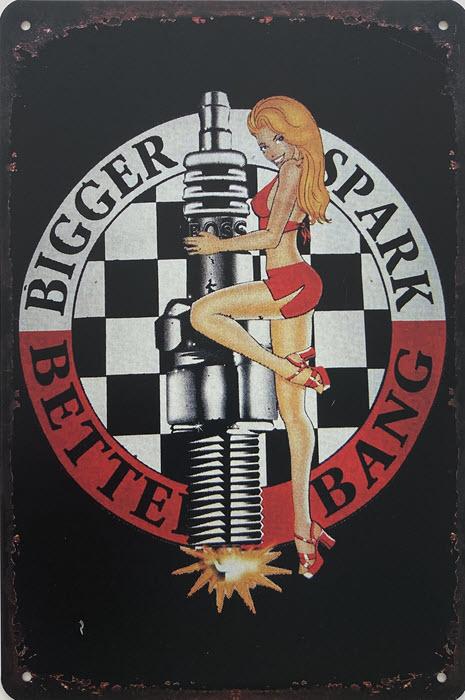 Retro metalen bord vlak - Bigger spark better bang