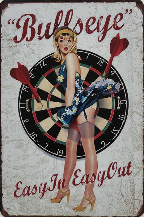 Retro metalen bord vlak - Bullseye