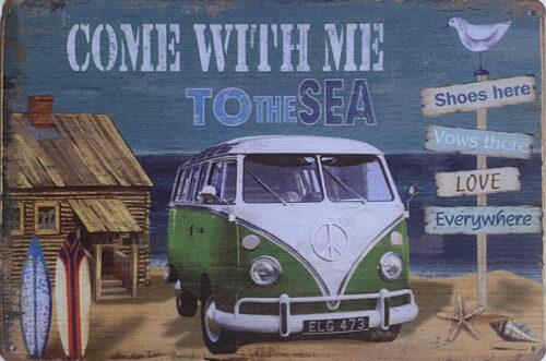 Retro metalen bord vlak - Come with me to the sea