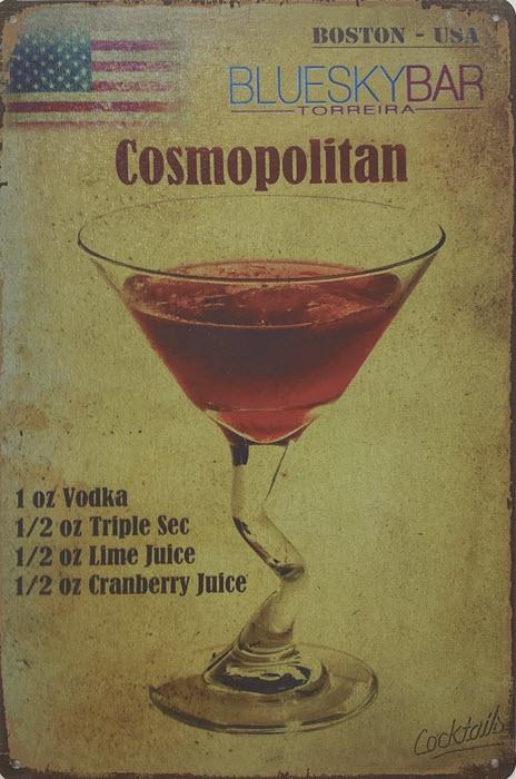 Retro metalen bord vlak - Cosmopolitan